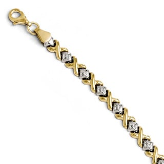 Versil 10k Two-tone Gold Diamond-cut Bracelet