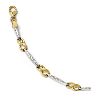 Versil 10k Gold and Rhodium-plating Diamond-cut Bracelet