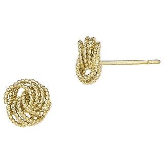 Versil 14k Gold Textured Love Knot Post Earrings