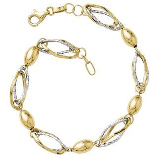 Versil 14k Two-tone Gold Polished and Diamond-cut Bracelet