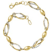 Versil 14k Two-tone Gold Polished and Diamond-cut Bracelet