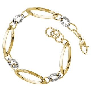 Versil 14k Two-tone Gold Polished and Diamond-cut Link with 0.5-inch Textured Bracelet