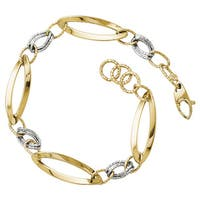 Versil 14 Karat Two-tone Gold Polished and Diamond-cut Link with 0.5-inch Textured Bracelet