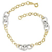Versil 14k Two-tone Gold Polished and Textured Fancy Link Bracelet