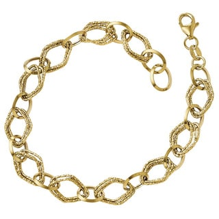 Versil 14k Gold Polished and Textured Fancy Link Bracelet