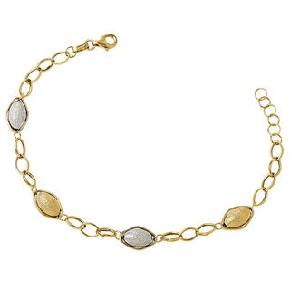 Versil 14k Two-tone Gold Polished and Textured Beads with 1inTextured Bracelet