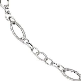Versil 14k White Gold Polished and Textured Link Bracelet