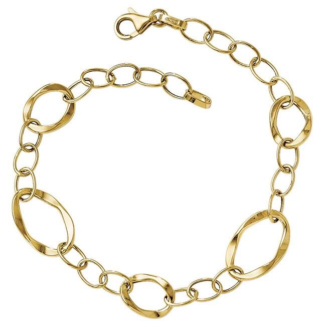 The Black Bow 14k Gold Polished Fancy Link Bracelet (14k ...