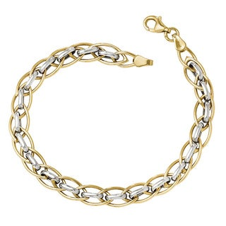 Versil 14k Two-tone Gold Polished Fancy Link Bracelet