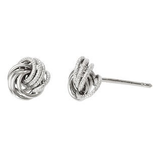 Versil 14k White Gold Polished and Texured Post Earrings