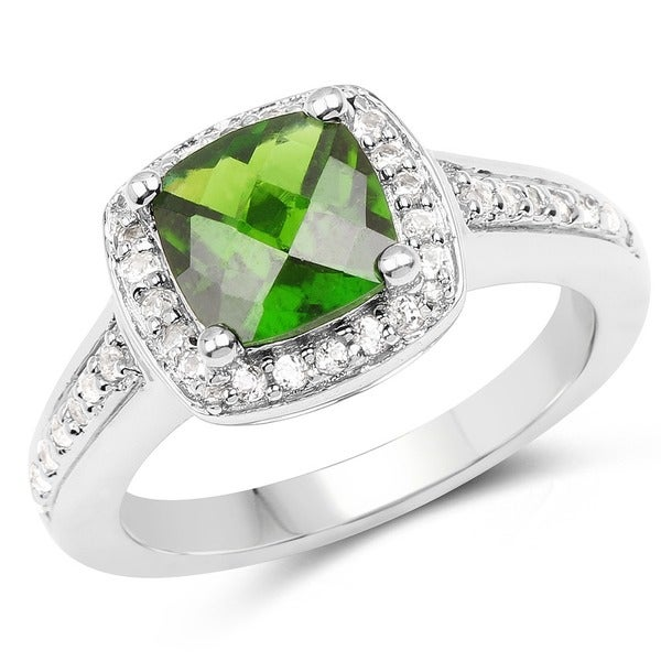 Malaika Sterling Silver 1 3/4ct Chrome Diopside and White Topaz Ring