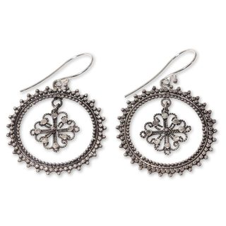 Handcrafted Sterling Silver 'Water Lily' Earrings (Indonesia)