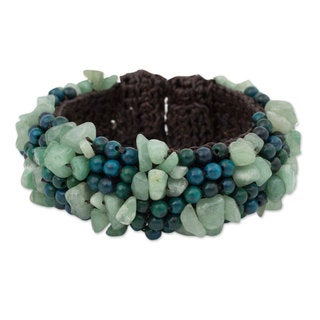 Handcrafted Serpentine Quartz 'Boho Nature' Bracelet (Thailand)