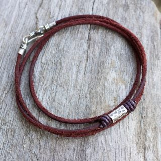 Handcrafted Mens Leather Silver Bold Brown Wraap Bracelet (Thailand)
