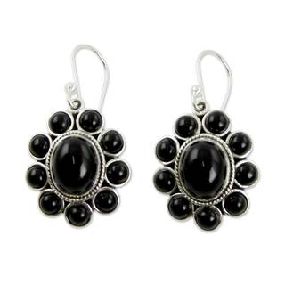 Handmade Sterling Silver 'Night Drama' Onyx Earrings (India)