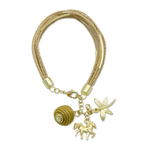 Handmade Palm Gold Overlay 'Natural World' Bracelet (Brazil)