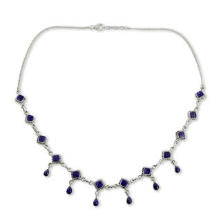 Handmade Sterling Silver Queen of Diamonds Lapis Lazuli Curb Style Necklace (India)