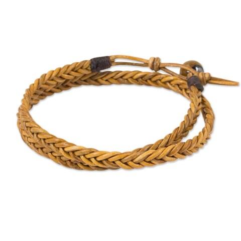 Handmade Men's Leather 'Double Hug' Tiger's Eye Bracelet (Thailand)