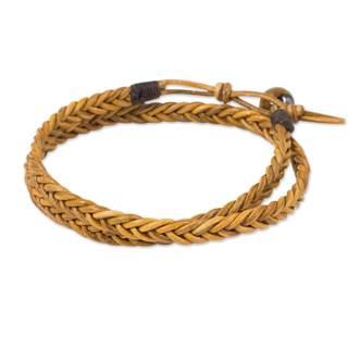 Men's Leather 'Double Hug' Tiger's Eye Bracelet (Thailand)