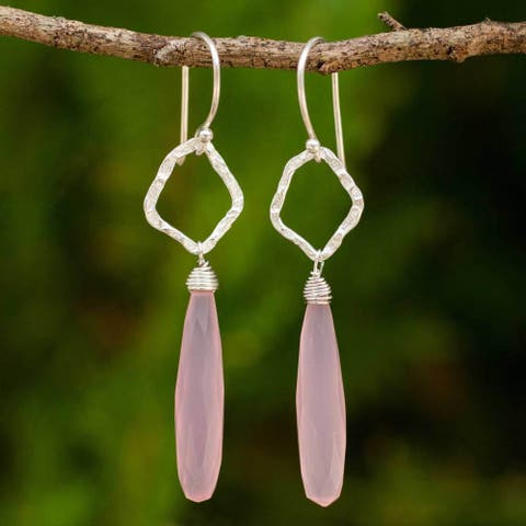 Handmade Sterling Silver 'Empowered' Chalcedony Earrings (Thailand)