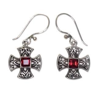Link to Handmade Maltese Cross Sterling Silver Garnet Earrings (Indonesia) Similar Items in Earrings