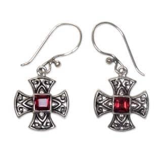 Sterling Silver 'Maltese Cross' Garnet Earrings (Indonesia)