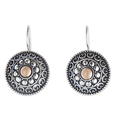 Gold Overlay 'Ancient Java Sun' Earrings (Indonesia)