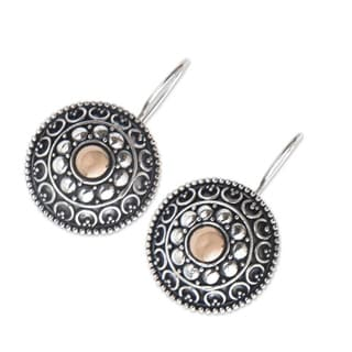 Handcrafted Gold Overlay 'Ancient Java Sun' Earrings (Indonesia)