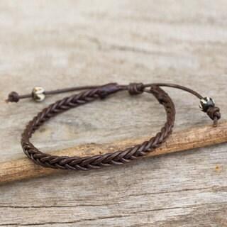 Handmade Men's Leather 'Single Brown Braid' Bracelet (Thailand)