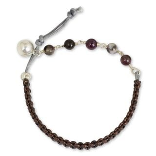 Silver Leather 'Fantasy Eclipse' Tourmaline Bracelet (Thailand)