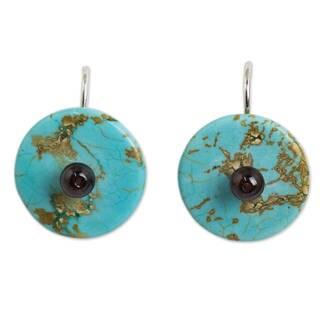 Sterling Silver 'Bohemian Moons' Calcite Garnet Earrings (Thailand)