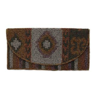 Handmade Embellished Cotton 'Tribal Glam' Clutch (India)