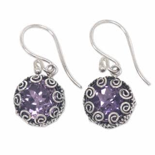 Handcrafted Sterling Silver 'Sanur Moon' Amethyst Earrings (Indonesia)