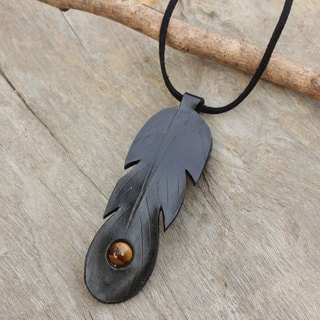 Leather 'Feather Spirit in Black' Tiger's Eye Necklace (Thailand)