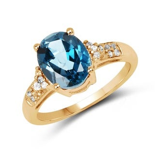 Olivia Leone Sterling Silver 3 3/4ct London Blue and White Topaz Ring