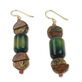 Handcrafted Brass 'A Living Love' Agate Soapstone Earrings (Ghana)