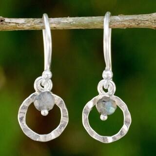 Handmade Sterling Silver 'Rustic Modern' Labradorite Earrings (Thailand)