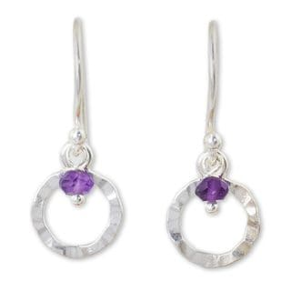 Sterling Silver 'Rustic Modern' Amethyst Earrings (Thailand)