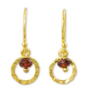 Handmade Gold Overlay 'Rustic Modern' Garnet Earrings (Thailand)