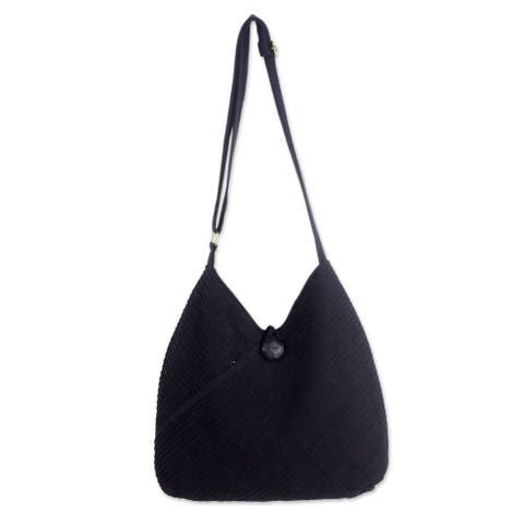 Handmade Black Pintucked Cotton Women's Hobo Shoulder Bag (Thailand)
