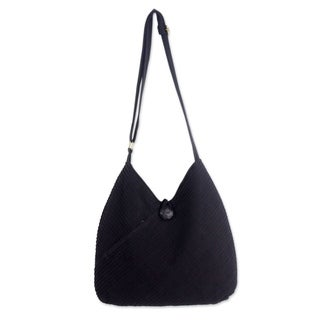 Link to Handmade Black Pintucked Cotton Women's Hobo Shoulder Bag (Thailand) Similar Items in Shop By Style