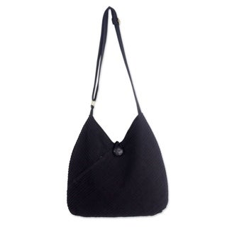 Surreal Black Pintucked 100-percent Cotton Lined Zippered Coin Purse Adjustable Strap Women's Hobo Tote Shoulder Bag (Thailand)