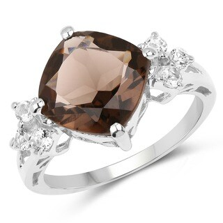 Malaika Sterling Silver 4 1/2ct Smoky and White Topaz Ring