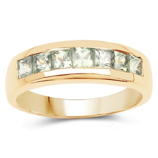 Malaika 14k Yellow Goldplated Sterling Silver 1 1/4ct Sapphire Ring