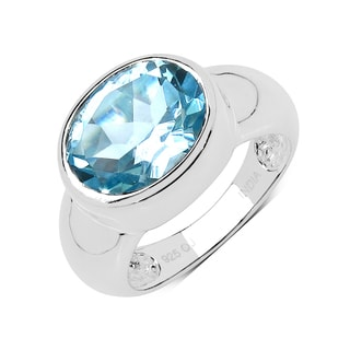 Olivia Leone Sterling Silver 5 1/6ct Blue Topaz Ring