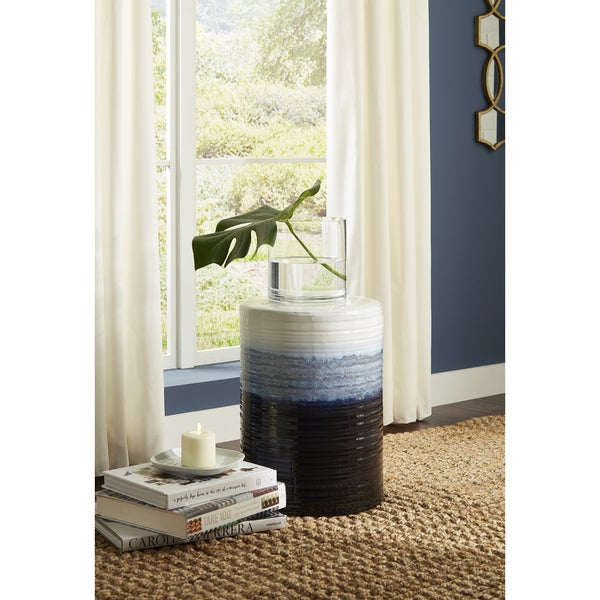 Shop Quinlyn Blue And White Garden Stool Free Shipping