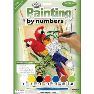 Junior Small Paint By Number Kit 8.75 inch x 11.75 inch Bamboo and Parrots