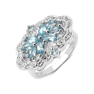 Olivia Leone Sterling Silver 7/8ct Aquamarine and White Topaz Ring
