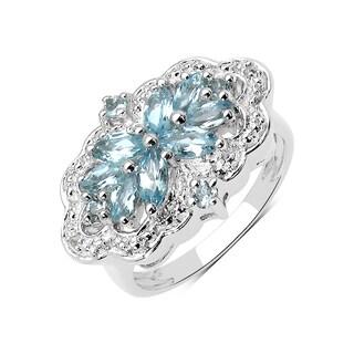 Olivia Leone Sterling Silver 7/8ct Aquamarine and White Topaz Ring