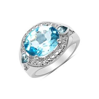 Olivia Leone Silvertone 5 1/2ct Blue Topaz Ring